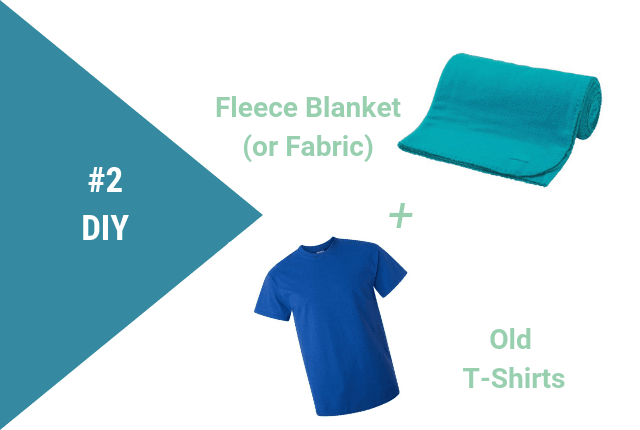 Graphic showing a fleece fabric and old t-shirt