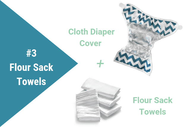 Graphic showing a diaper cover and flour sack towels.